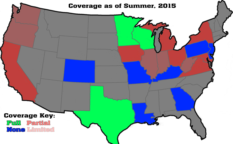 d3photography.com coverage map as of Summer, 2015